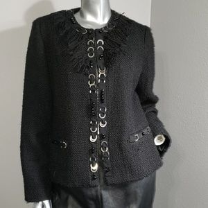 CHICO'S 1 Black fringe and silver jqcket